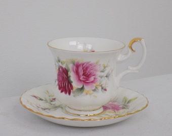 Royal Albert Bone China Danbury Mint Porcelain Demitasse Tea Cup & Saucer Set - Roses Floral Elegant Collectible Tea Drinking Set Pair Gift