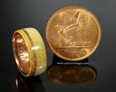Irish coin ring Jameson whisky barrel wood with deer antler