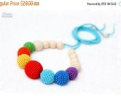 25% off Organic Nursing/Breastfeeding mom necklace Teething Rainbow necklace crochet sling necklace