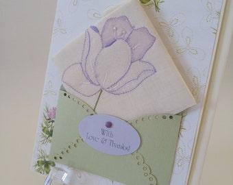 Vintage Embroidered Hankie Card Lavender Thank You Card Applqiue Keepsake Gift Mother Grandmother Friend Wedding Summer Handkerchief