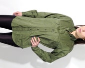 Vintage Men's Green Military Army Shirt Size 38