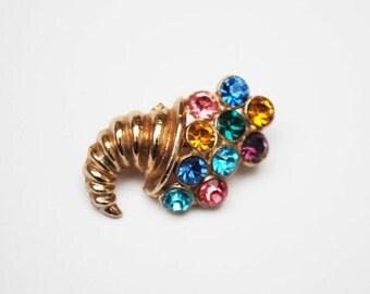 Vintage Multi Color Rhinestone Cornucopia Jewelry Brooch Gold Tone