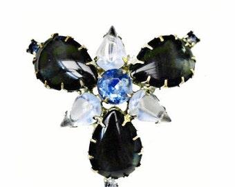 Blue Glass Cabochon Brooch Rhinestone mid century