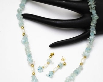 Aquamarine Fresh water Pearl and14kt gold bead necklace