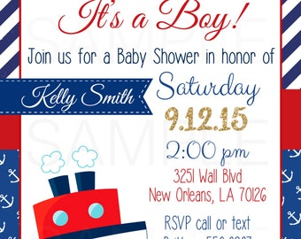 Ahoy it's a boy Nautical Baby Shower Invitation - DIY Printable File