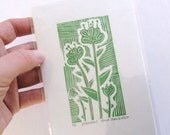 linocut - FLOWERS, green - 4x6 / printmaking / block print / flower art