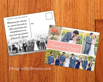 Modern Wedding Thank You Postcard with Clean Lines - Coral Peach can be any Color - Double Sided with Photo on Back - Classic, Elegant Look