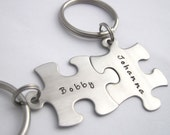 Personalized Puzzle Piece Key Chain Set of Two - Custom Couples Keychain Valentine's Day Wedding Anniversary Birthday Sisters Best Friends