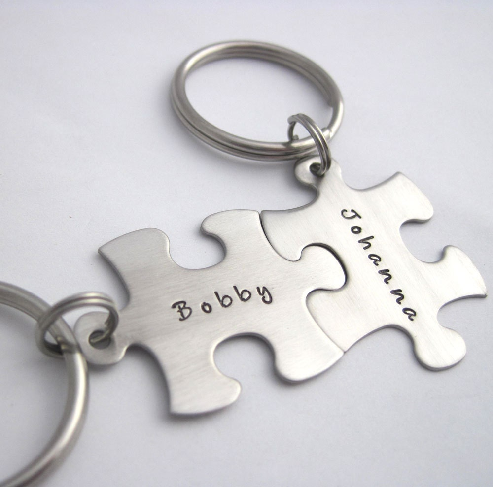 personalized puzzle piece key chain set of two custom