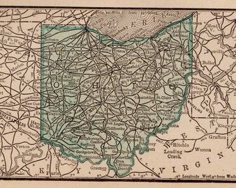 Antique OHIO Map of Ohio State Map Ohio Gallery Wall Art Vintage 1886 MINIATURE Map  Plaindealing 6637