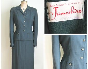 Vintage Mid Century Ladies Suit// Hunter Green// Jameshire