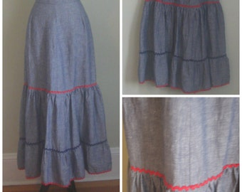 Vintage 1970's Tiered Chambray Skirt// Red Ric Rac// Maxi skirt