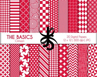 Digital Scrapbook Papers-The Basics-Crimson-Red and White-Geometric-Basic Patterns-Backgrounds-Wallpaper-Printable-Instant Download Clip Art
