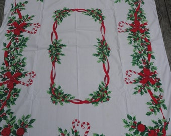 Vintage Christmas Linen Tablecloths with Candy Canes, Ornaments and Holly Berries, Christmas Festive Printed Tablecloth, Candy Canes