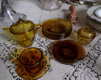 Vintage Amber Glass Child's/Child/Girl/Doll-Cup/Saucer/Plates/Creamer/Covered Pitcher/Lid-Dishes Lot