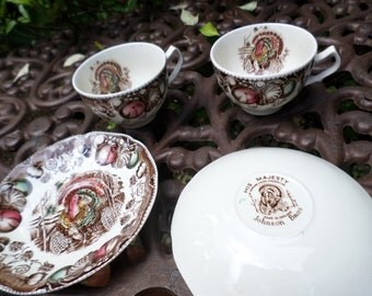 Vintage Johnson Brothers England Transferware-His Majesty-Turkey/Thanksgiving Teacup & Saucer Sets-X2