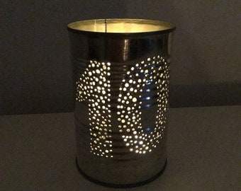 Personalised Ten Year Wedding Anniversary Upcycled Tin Can Lantern