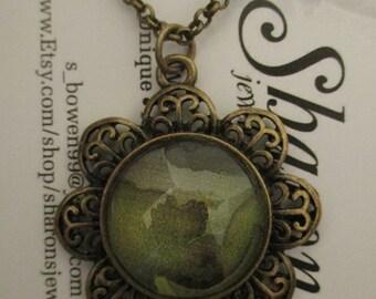 Art Pendan Necklace  - Green Alcohol Ink Pendant