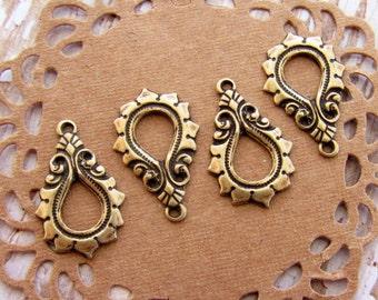 Antiqued Brass Ox Art Nouveau Teardrop Flourish Earring Dangles Drops Charms – 4