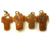 Hand Carved Amber Baltic CROSS - Honey - Cognac - size XL - 4pcs available