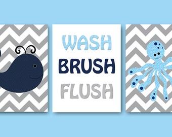 Blue Navy Grey Canvas Print Bathroom Art Print Bathroom Decor Wash Brush Flush Nursery Decor Whale Nursery Decor Children Art Print set of 3