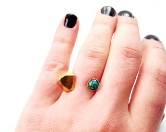 Turquoise And Crystal Facet Open Ring