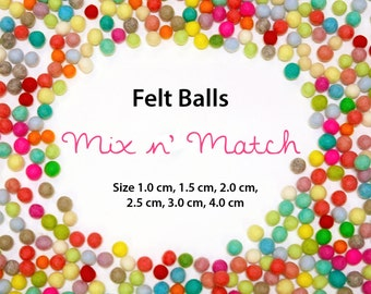 Felt Balls - Rainbow Pack - Sizes 1.0 cm, 1.5 cm, 2.0 cm, 2.5 cm, 3.0 cm, 4.0 cm  - Mix and Match or PICK your color