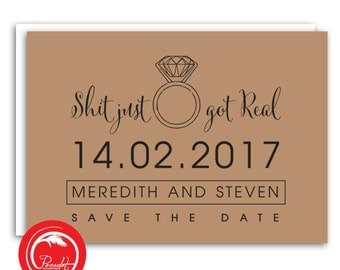 Just Got Real Save the Date Card