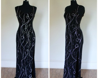 Vintage 1990s Black and Silver Glitter Maxi Dress Evening Gown Body Con Dress