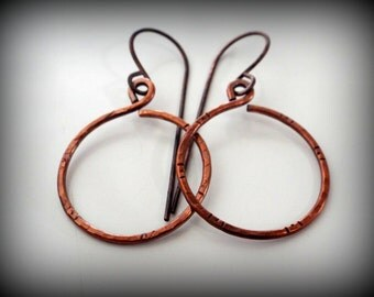 Simple Hammered and Textured Copper Hoop on Fish hook Dangle Earrings