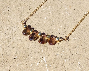 Andalusite Bar Necklace Pyrite Gemstone 14k gold filled