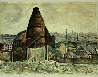 Watercolour of Longton, Staffordshire, The Potteries, Northern landscape, Industrial painting, Chimneys, Pottery kilns