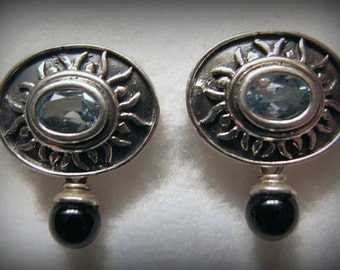 Vintage BLUE TOPAZ and Black Onyx Earrings in Sterling Silver -- Pierced Ears