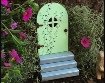 Mothers Day Gift, Fairy Door, window, Garden Decor, Gift, Outdoor, green fairy door, Birthday, Gifts for Her, Wall, Tree, Wood, housewarming