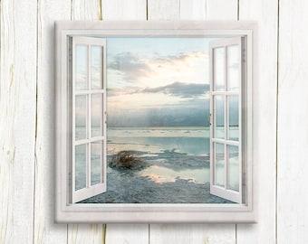 Seascape Window view - Sunrise over The Dead Sea - Travel art print on canvas - Housewarming gift idea