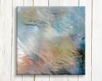 Light Blue Contemporary Art Print on canvas - Square Abstract art print on canvas - Wedding gift