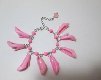 KIDS SIZE / Pink  / Beaded Barbie Shoe bracelet/ Item 9-107