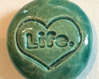 LOVE LIFE Pocket Stone - Ceramic -  AQUAMARINE Art Glaze - Inspirational Art Piece
