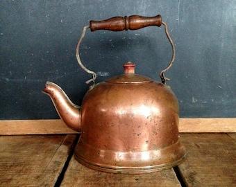 Antique Copper Coffee Pot, Vintage Copper Tea Kettle, Wood Handle and Lid Finial, Original Patina, Copper Kitchen