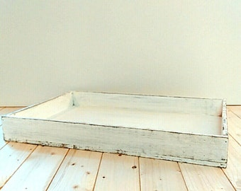 Rustic white ottoman wood tray, decorative rustic tray, shabby chic large tray, serving tray, coffee tray, organizer, home decor