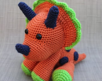 Dinosaur Stuffed Animal Toy - Crochet Dinosaur Amigurumi - Stuffed Dinosaur - Triceratops - Baby Shower Gift - Baby Nursery Decor