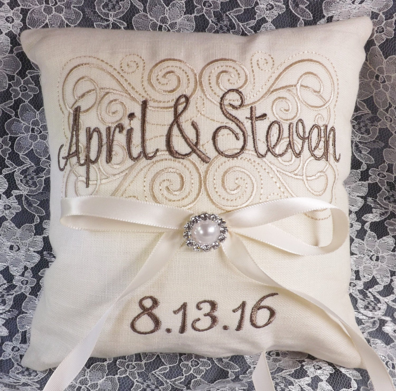 Monogram Wedding Ring Bearer Pillow: First Names Ring Pillow Ring Bearer Pillow Wedding Pillow