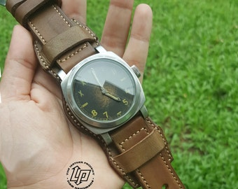 Handmade Tanned/ Olive Green Vintage Bund Watch Strap Band with Pre-V buckle.