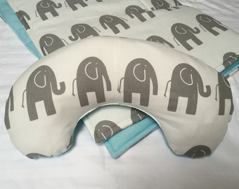 Baby Play Mat Pillow Gender Neutral Tummy Time Padded Pillow Prop Up Bolster Gray Elephant Shower Gift Daycare Newborn Infant Accessories