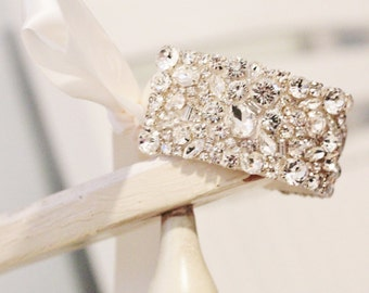 New! Rhinestone Encrusted Bridal Cuff
