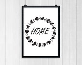 HOME. Wall Art design, Home Decor, Bedroom Print, Wall Poster, Typography Poster, Wall Art, Motivational Quote, Inspirational Print 0003