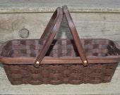 Knitting supplies tote basket handles Walnut wood