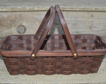 Knitting supplies tote basket handles Walnut wood