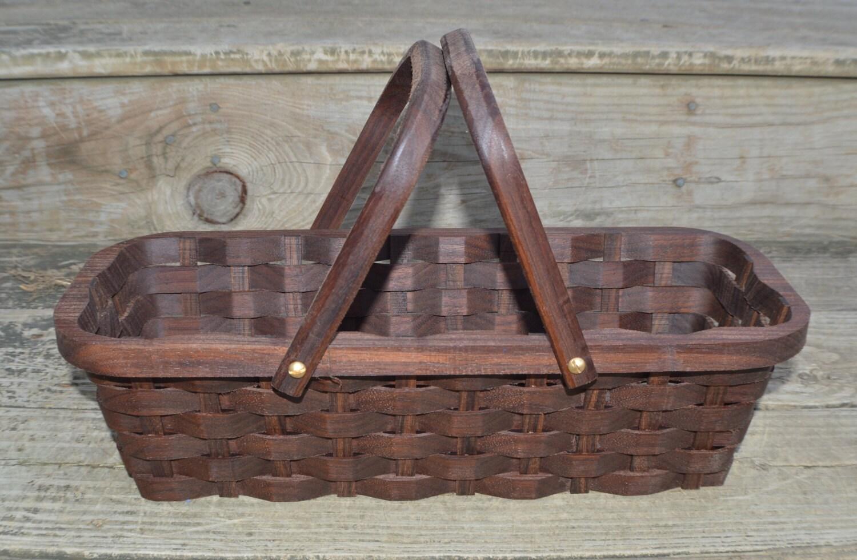 Knitting Basket With Handles : Knitting supplies tote basket handles walnut wood