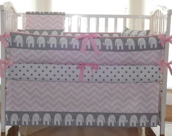 Baby Bedding Grey Elephant, Pink Chevron, Crib  Baby Bedding  3-5pc Set